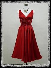 dress190 Rot V-Ausschnitt 50er Rockabilly Abschlussball Brautjun Kleid EUR 48-50