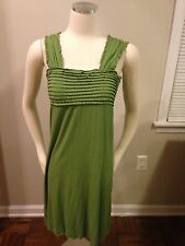MSSP Max Studio Moss Green Pleated Ruffle Chest Stretch Dress Small Empire EUC