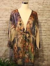 Tattoo Me Cardigan Shirt 2X Plus Floral Sublimation Empire Waist One Button USA
