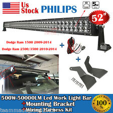52 Inch 500W Led Light Bar Philips+Mounting Brackets Fit For Dodge Ram 1500 US15
