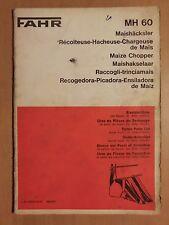 FAHR Ersatzteilliste Maishäcksler MH 60 Maize Chopper 1972 Parts List