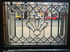 "Nice Antique Chicago Stained Leaded Glass Transom Windows 40"" by 31"" Circa 1910"