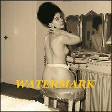 British 1960s Nude Pinup Annette French Sitting at Makeup Table,Vintage-Photo