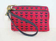 NWT Fossil Double Corner Zip Phone Wristlet Pomegranate Perforated Leather