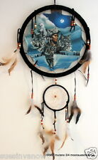 "Quality  13"" Dream Catcher  Leather  Mandella  shield   Wolves  "" Wolf  Trio """