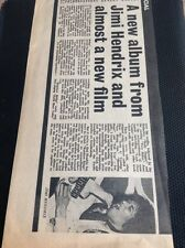K1-1 Ephemera 1971 Article Jimi Hendrix Rainbow Bridge Film