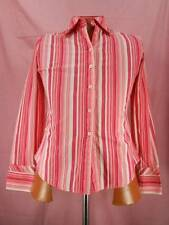 Beautiful Women's Medium Tommy Hilfiger Pink & White Stripe Fitted LS Blouse GUC