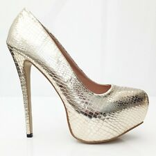 Large Size High Heel Shoes UK Size 12 Gold Effect high heels for men