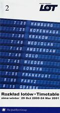 LOT Polish Airlines Timetable  October 29, 2000 =