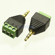 """2pcs Adapter 3.5mm 1/8"""" male plug to AV Screw Terminal plug stereo for Video"""