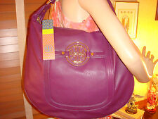 NWT TORY BURCH Amanda Flat Hobo VIOLET Pebbled Leather $465 DUST BAG