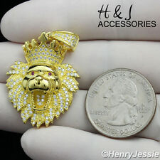 MEN 925 STERLING SILVER ICED OUT BLING LION KING HEAD CROWN GOLD PENDANT*MG122