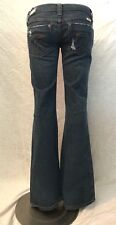 + Women's FRANKIE B Gray Blue Distressed Low-Rise Flare Jeans Size 4 X 34 ~9192