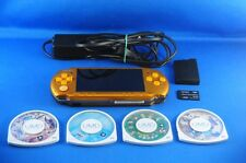 Sony PSP 3000 Handheld System Yellow/charger&Battery&Memory &4games#D8