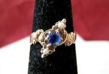 ANTIQUE 14K YELLOW GOLD SEED PEARL WITH BLUE STONE RING SIZE 4.25 VINTAGE