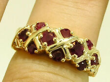 R168- GENUINE 9K 9ct Gold NATURAL Ruby XOXO Kiss ETERNITY Ring size N