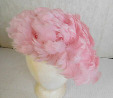 VINTAGE PINK FEATHER BOUFFANT STRETCHY HAT CAP ONE SIZE FITS ALL