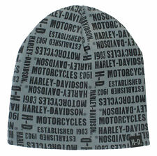 Harley-Davidson Men's Repeated H-D Text Knitted Beanie Cap, Gray KN19180