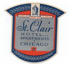 1930s Luggage Label from the St Clair Hotel Apartments Chicago