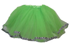 Lime Green Zebra Animal Ribbon Lined Dance Tutu