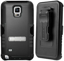 BLACK TRI-SHIELD RUGGED CASE + BELT CLIP HOLSTER STAND FOR SAMSUNG GALAXY NOTE 4