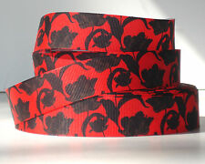 "Tulip Silhouette on Red 1"" grosgrain ribbon 4 yards decorative crafts hair bows"
