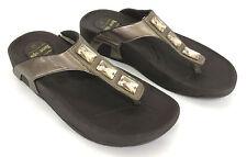 Skechers 10 Metallic Bronze Platinum Jewels Platform Sandals Flip Flops 38736