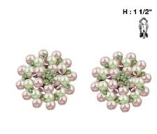 """1.5"""" Round Pink and Green Pearl Beaded Clip-On Earrings"""