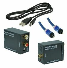 Digital zu Analog Audio Konverter + 2,5m Toslink(BlueLine) + USB-DC Kabel