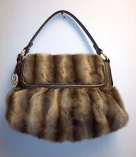 Authentic Brown Mink Fur Fendi Chef Flap Shoulder Handbag Purse Excellent