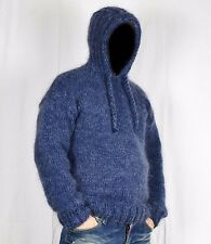 Hand Knit WOOL Mohair Pullover Men Sweater Hoodie SOFT fuzzy Jumper L