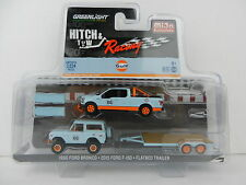 1:64 GreenLight *HITCH & TOW M&J* GULF RACING Ford F-150 Bronco 4x4 Car Trailer