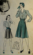 Vtg 40s WWII Blouse Shirt & Skirt  FF Unused Unprinted Hollywood 640 Bust 30 S12
