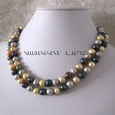 "34"" 7-9mm Gray Champagne Peacock Freshwater Pearl Necklace AC"