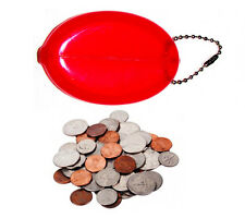 1 RED RUBBER SQUEEZE COIN HOLDER KEYCHAIN MONEY CHANGE PURSE OVAL DURABLE NEW