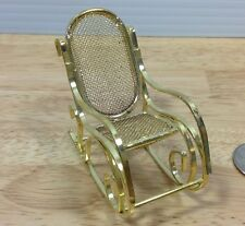 """Doll House Furniture Rocking Chair Gold Tone Metal Living Room 2.75"""" Miniature"""