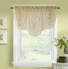 1pc BONITA TAUPE  VOILE SHEER VALANCE SWAG TOPPER WINDOW CRYSTAL BEAD FRINGE
