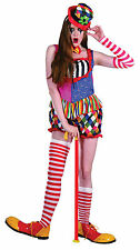 Ladies Rainbow Clown Female Costume for Circus Fancy Dress Outfit Adult