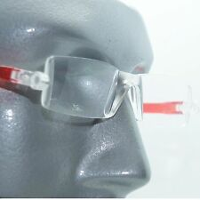 Reading Glasses No-See Frameless Lightweight Hot Red Color Accent Sides +2.00