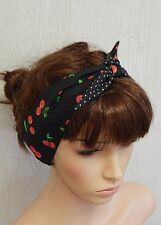 Retro cherry and polka headband, 50's hair scarf, head wrap, tie up headscarf