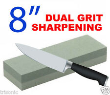 "COMBINATION DUAL GRIT 8"" STONE WHET WET STONE KNIFE SHARPENER ALUMINUM OXIDE NEW"
