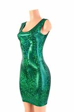 LARGE Green Shatter Glass Holographic Spandex Bodycon Tank Dress Ready To Ship