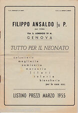 GENOVA FILIPPO ANSALDO TUTTO X IL NEONATO LITINO PREZZI ILLUSTARTO 1955