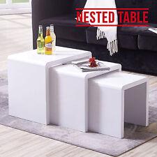 New Modern Design High Gloss White Nest of 3 Coffee Table/Side Table Living Room