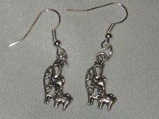 Tibetan Silver Lovely Giraffe Mother & Baby Charm Earrings
