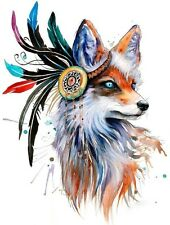 FEATHER FOX ANIMAL WATERCOLOUR ART  IMAGE A4 Poster Gloss Print Laminated