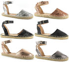 Ladies Flat Espadrilles Womens Ella Glitter Ankle Strap Sandals Pumps Shoes Size