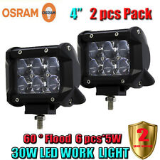 2X 4inch 30W OSRAM Led Light Bar Flood Work Light 4WD ATV Off-road Driving Lamp