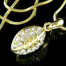 w Swarovski Crystal ~3D American FOOTBALL Super Bowl BALL Sport Gold Pl Necklace