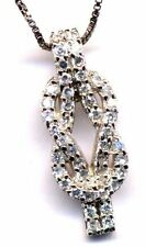 Sterling Silver White CZ Rows Open Love Knot Necklace Pendant